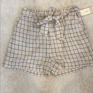Window pane cream and black paper bag waist shorts